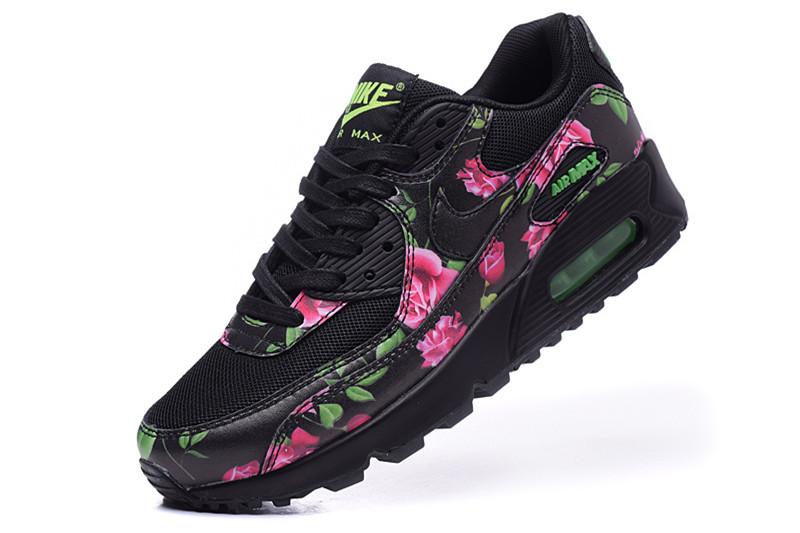 en soldes 064f7 e929e Nike Air Max 90 Chaussures Femmes Fleur Noir / Rose ...