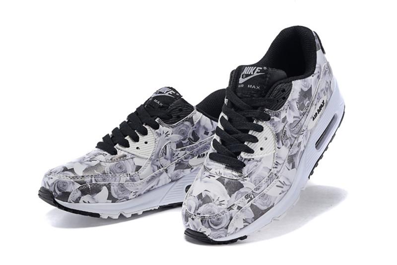 half off 1fff6 20a0b Nike Air Max 90 Chaussures Femmes Fleur Blanc   Noir