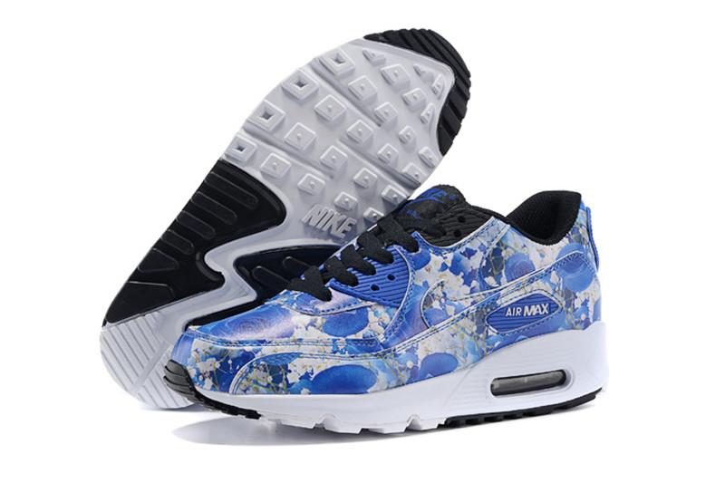 online retailer b5b90 1060d Nike Air Max 90 Chaussures Femmes Fleur Bleu   Blanc
