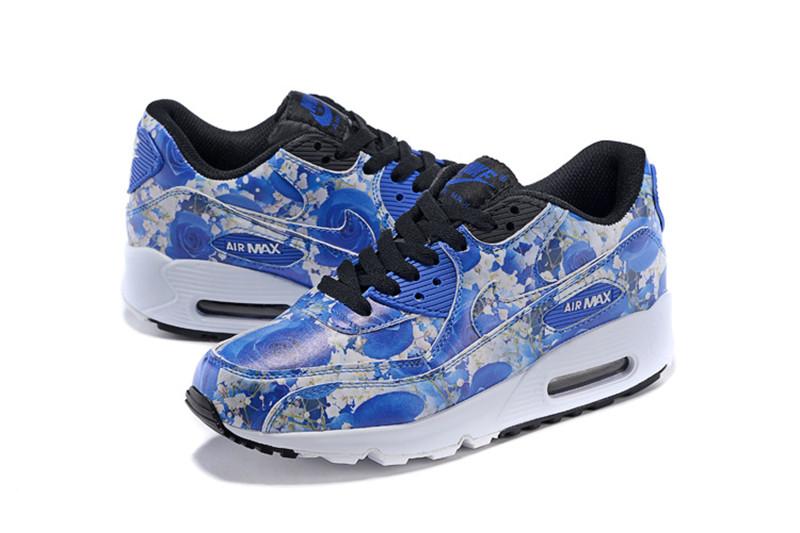 revendeur 9e1b1 a6bd4 Nike Air Max 90 Chaussures Femmes Fleur Bleu / Blanc ...