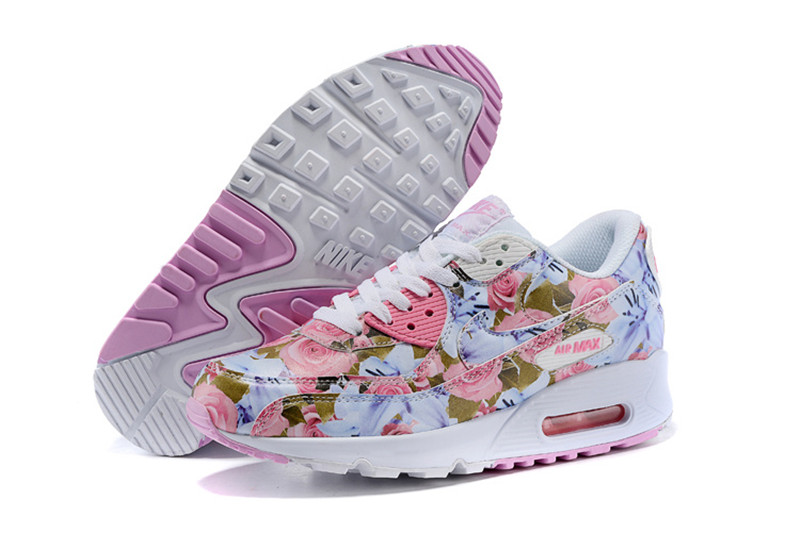 the latest db59a 85f10 Nike Air Max 90 Chaussures Femmes Fleur rose  blanc