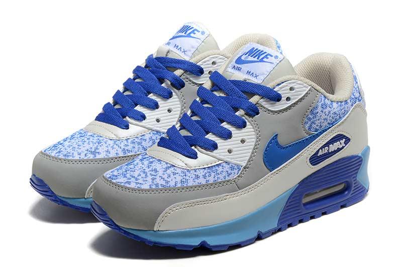 design de qualité 20fa8 a9b85 Nike Air Max 90 Femme Chaussures Gris Bleu 5037 ...