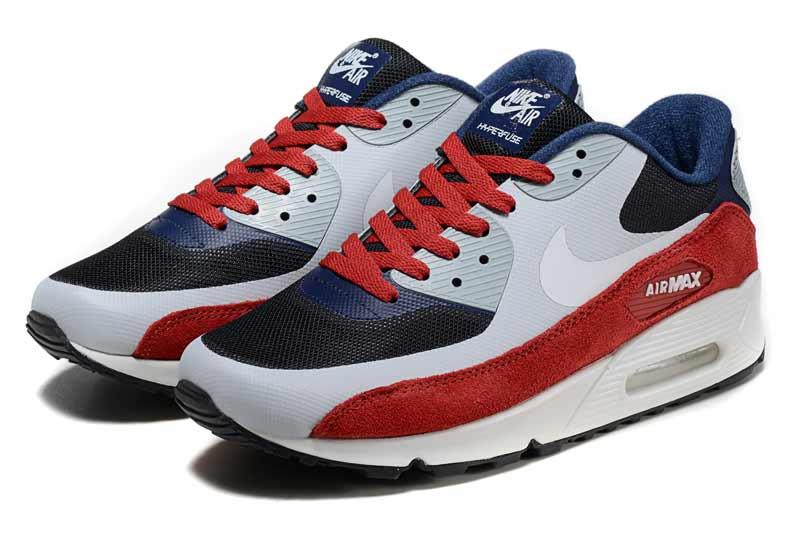 new arrival 39a56 d8155 Nike Air Max 90 Femme Chaussures Gris Bleu Rouge 2047