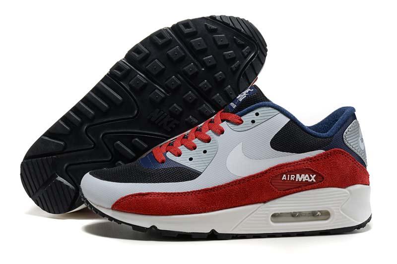 half off 220d2 38990 Nike Air Max 90 Femme Chaussures Gris Bleu Rouge 2047 [N_AM90_680025 ...