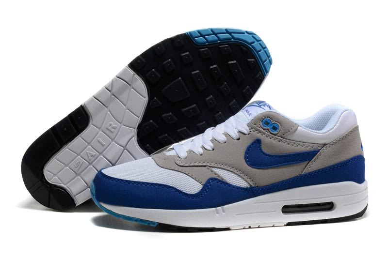 quality design 7ced4 ee1f3 Nike Air Max 1 Homme Chaussures Gris Bleu Blanc 1015