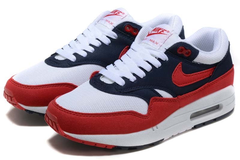 huge inventory classic style good Nike Air Max 1 Homme Chaussures Rouge Blanc Bleu 1011 [N_AM1_58015 ...